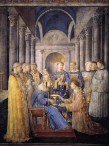 Saint Lawrence being ordained deacon by Pope Saint Sixtus II (Blessed Fra Angelico)